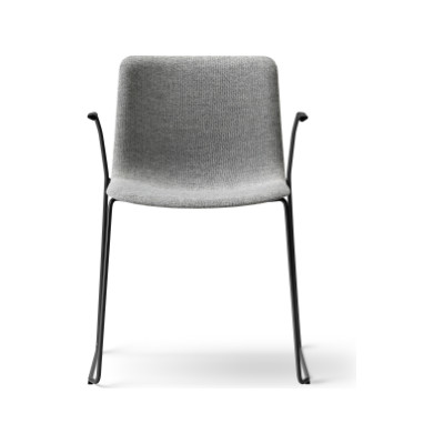 Pato Sledge Armchair Fully Upholstered Black Painted Steel, Nubuck 501 Light sand