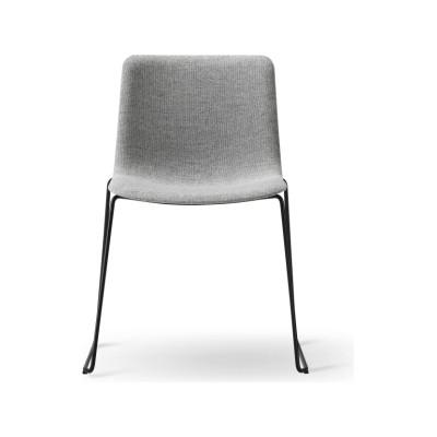 Pato Sledge Chair Fully Upholstered Black Painted Steel, Nubuck 501 Light sand