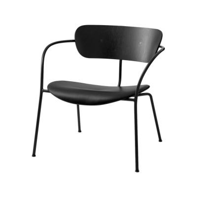 Pavilion AV6 Lounge Chair Lacquered walnut, Camo Leather Silk 0197 Cream