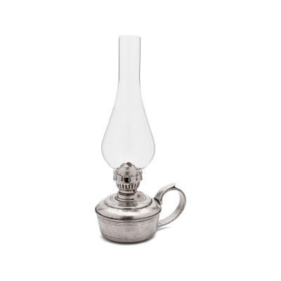 Pewter & Glass Oil Lamp