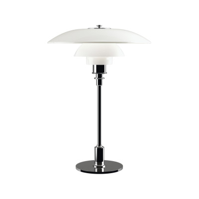 PH 3½-2½ Glass Table Light UK Plug, High Lustre Chrome Plated