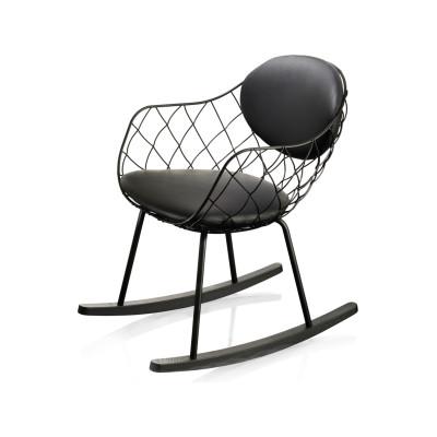 Piña Rocking Chair Magis Leather Nero Black 795 with Natural Base