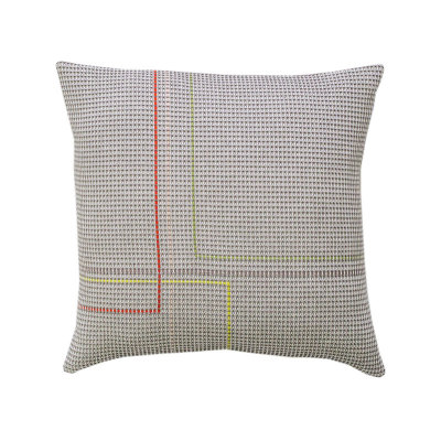 CLYDE organic cotton hand embroidered charcoal square cushion