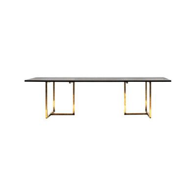 Pivot T3456 Dining table Oak Black, Brass Natural Finish