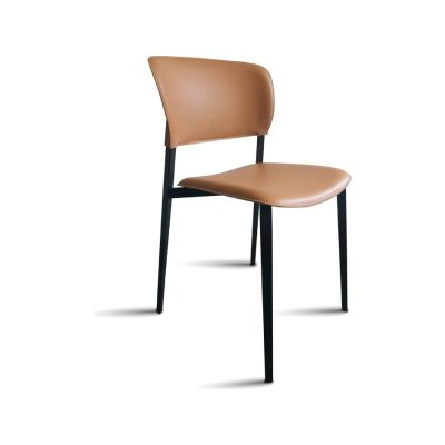 Ply Upholstered Dining Chair Desalto Leather Cuoietto H56 Nero, B59 Matt Black