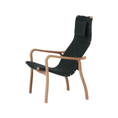 Primo Easy Chair High Back Beech Stained, Braded Leather Natural