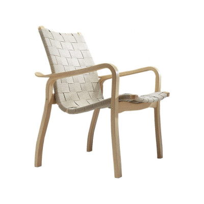 Primo Easy Chair Low Back Beech Stained, Braded Leather Natural