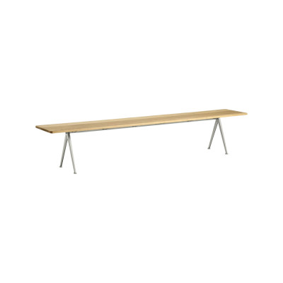 Pyramid bench 12 Black Frame, Matt Lacquered Oak Tabletop, 190cm