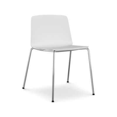 Rama Four Legs Chair White, Polished Chrome Steel