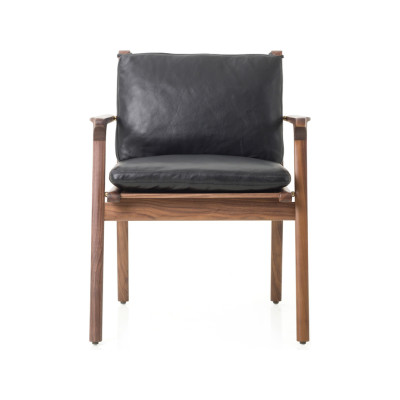 Rén Dining Armchair Wood Natural Walnut, Newcastle Burgundy New - 15