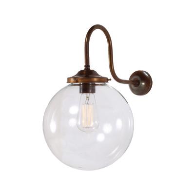 Riad Clear Globe Wall Light Satin Brass