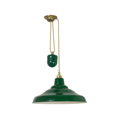 Rise And Fall School Pendant Light 7200 Green with white interior