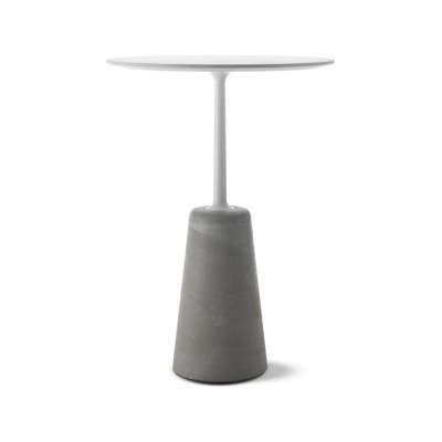 Rock High Table Matt White Top & Natural Frame