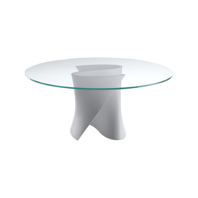 S Dining Table, Glass White, 175cm