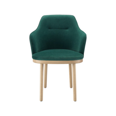 Sartor Armchair Wood Legs Lana 007 Canary, Walnut