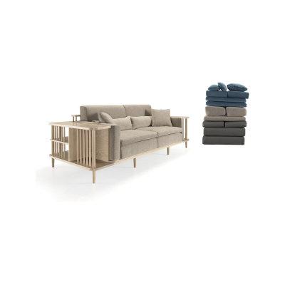 Scaffold Sofa Walnut Natural, Lana 007 Canary