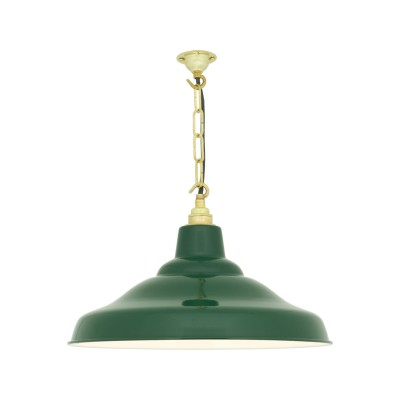 School Pendant Light 7200 Green with white interior