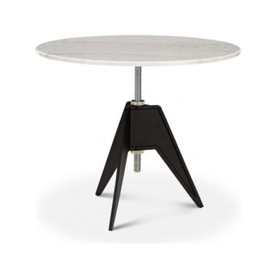 Screw Round Cafe Table 90cm, White Marble