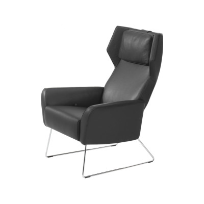 Select Easy Chair Sled Base with Neck Cushion Black Steel, Elmo Nordic 00105
