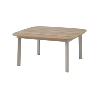 Shine Coffee Table with Teak Top Matt White 23, Teak 82