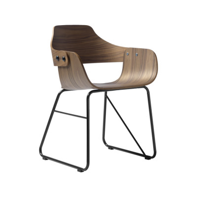 Showtime Chair - Sled Base Ash Wood Stained Black