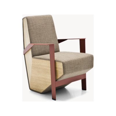 Silver Lake Armchair with Arms B0211 - Leather Oil cirè, Tele Grey, Oak Natural, Small