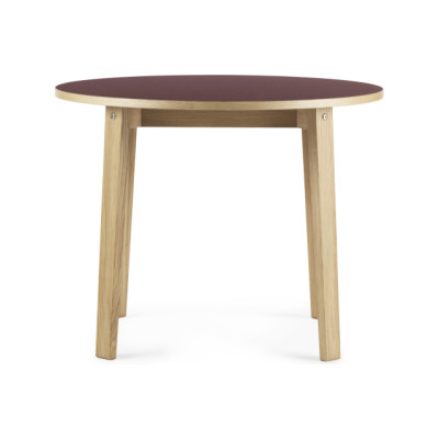 Slice Linoleum Round Dining Table Burgundy, Ø 95 cm