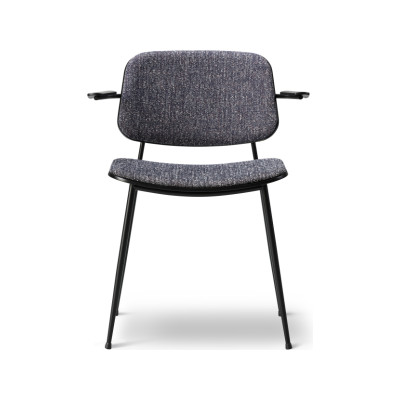 Soborg arm chair, steel, back and seat upholstered Oak lacquered, Remix 2 113