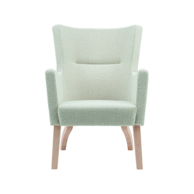 Solino Low Back Easy Chair Upholstered Frame - Wooden Legs Birch Natural Lacquer, Main Line Flax Newbury