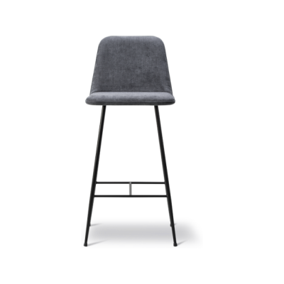 Spine Metal Base Barstool - fully upholstered Nubuck 501 Light sand, Black