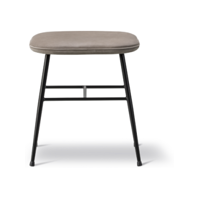 Spine Metal Base Stool - fully upholstered Nubuck 501 Light sand, Black, 46.5
