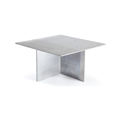Square Working Table Raw Steel, Oak, 90cm