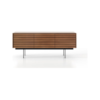 SSX311 Sussex Sideboard Black Textured Metal, Super-Matt Walnut