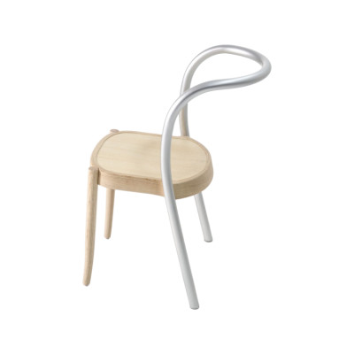 St. Mark Hybrid Dining Chair - Set of 2 Anodized aluminium, Ash natural