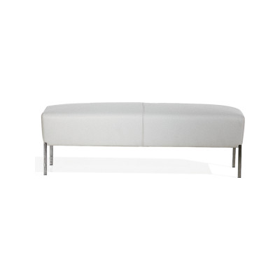 Steel Rectangular Footstool B0211 - Leather Oil cirè, Chrome Steel Base