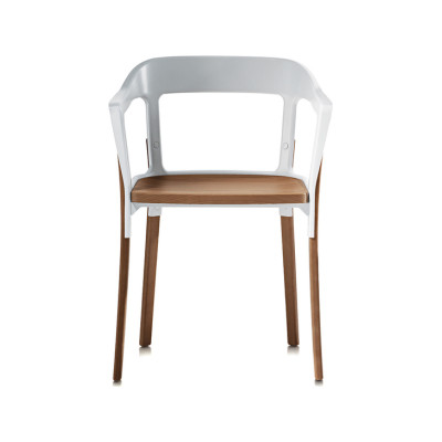 Steelwood Armchair Dark Oak Legs and Seat, Grey Anthracite Back