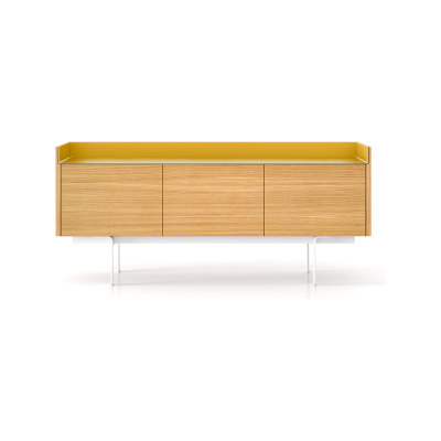 STH311 Stockholm Sideboard White Open Pore Lacquered On Oak, Bronze Anodised Aluminium, Beige Textured Metal