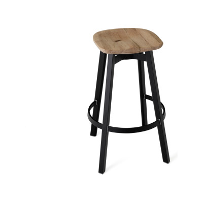Su Bar Stool Black Aluminium, Oak