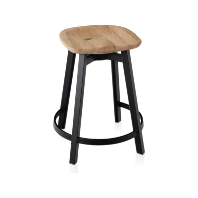 Su Counter Stool Black Aluminium, Oak