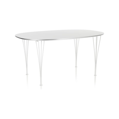 Super-elliptical Dining Table Laminate Standard Colour White 100 x 170 Chromed