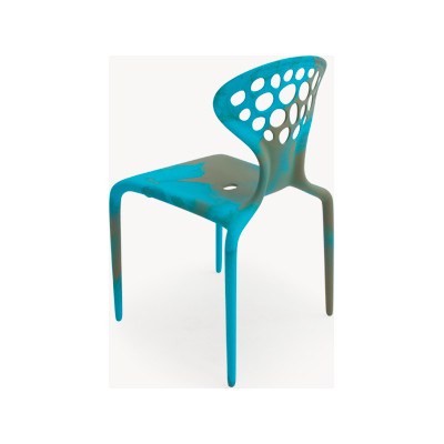Supernatural Set of 4 Dining Chair Bicolored with perforated back Turquoise /Caramel