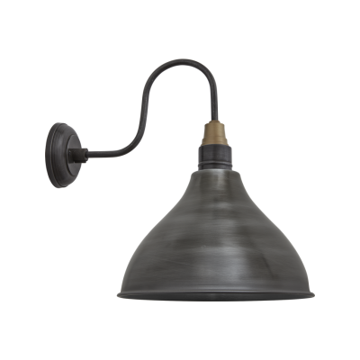 Swan Neck Cone Wall Ligh - 12 Inch Swan Neck Cone Wall Light - 12 Inch - Pewter - Pewter Holder