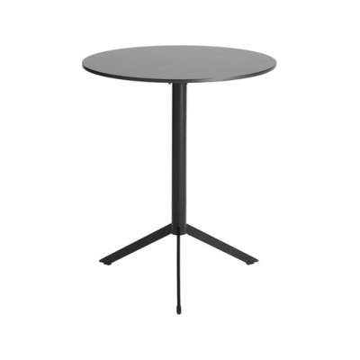 T4 Folding and Stackable Cafe  Table with Round Top black painted metal, white HPL