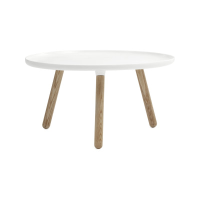 Tablo Round Coffee Table White Top, Natural Ash Legs, Large