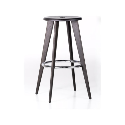Tabouret Haut Bar Stool 2 Dark Stained Solid Oak