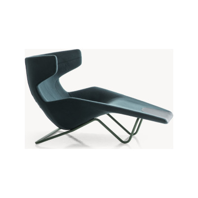 Take a Line for a Walk Chaise Lounge Concrete, B0276 - Leather Reserve honey, Stitching Red