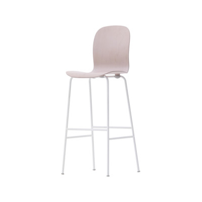 Tate Colour Stool With High Backrest Natural / Stainless Steel, 116.5