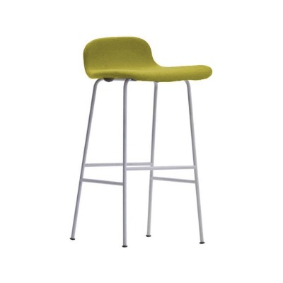Tate Colour Stool With Low Backrest Natural / Stainless Steel, 90.5