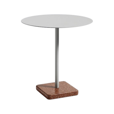 Terrazzo Round Outdoor Table Sky Grey Top with Red Base
