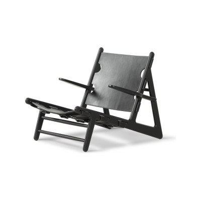 The Hunting Chair Oak black lacquered, Black Leather